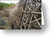 Wooden Greeting Cards - KINSOL TRESTLE L railroad bridge framework spanning valley Greeting Card by Andy Smy