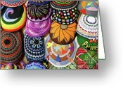 Skullcap Greeting Cards - Kippot in Ben Yehuda St. Greeting Card by Viviane Nathan