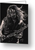 Celebrities Drawings Greeting Cards - Kirk Hammett Greeting Card by Kathleen Kelly Thompson