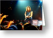 Live Art Mixed Media Greeting Cards - Kirk Hammett of Metallica Greeting Card by Jeff Stein