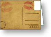 Love Letter Greeting Cards - Kiss Lips On Postcard Greeting Card by Setsiri Silapasuwanchai