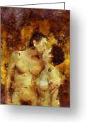 Hug Digital Art Greeting Cards - Kiss Me Again Greeting Card by Kurt Van Wagner