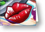Graffiti Greeting Cards - Kiss Me Now ... Greeting Card by Juergen Weiss