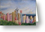 Lipsticks Greeting Cards - Kiss of Seattle Greeting Card by Mary Jo Jung
