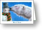 Polar Bear Greeting Cards - Kiss of Snow... Greeting Card by Will Bullas