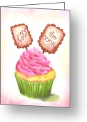 Cup Cakes Greeting Cards - Kiss the Cook Cupcake Art Greeting Card by Jai Johnson
