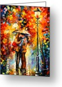 Afremov Greeting Cards - Kiss Under The Rain Greeting Card by Leonid Afremov
