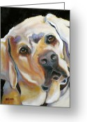 Dog Prints Greeting Cards - Kissably Close Lab Greeting Card by Susan A Becker