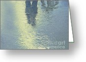 Lovers Art On Print Greeting Cards - Kissing Couple With Palm Reflection Greeting Card by Cindy Lee Longhini