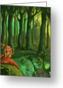 Woods  Greeting Cards - Kissing Frogs Greeting Card by Andy Catling