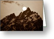 Moon Set Greeting Cards - Kissing the Teton Greeting Card by David Lee Thompson