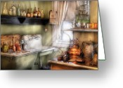 Kettle Greeting Cards - Kitchen - Mommas Kitchen  Greeting Card by Mike Savad