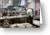 Paris Greeting Cards - Kitchen - The chefs at the Eiffel Tower Restaurant Greeting Card by Mike Savad