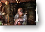 Colonial Scene Greeting Cards - Kitchen - The Colonial Chef  Greeting Card by Mike Savad