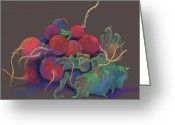 Red Leaves Pastels Greeting Cards - Kitchen Accents Greeting Card by Tracy L Teeter