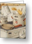 Pan Greeting Cards - Kitchen Greeting Card by Kestutis Kasparavicius