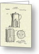 Coffee Drawings Greeting Cards - Kitchen Utensil 1921 Patent Art Greeting Card by Prior Art Design