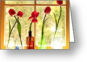 Clear Glass Greeting Cards - Kitchen Window 4 Greeting Card by Margaret Hood