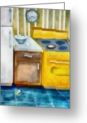 Cabinet Room Greeting Cards - Kitchen with Broken Eggs Greeting Card by Michelle Calkins