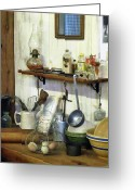 Hurricane Lamps Greeting Cards - Kitchen With Wire Basket of Eggs Greeting Card by Susan Savad