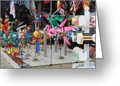 Kites Greeting Cards - Kite and Banner Store Display Greeting Card by Jim Vansant