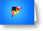 Photography Tk Designs Greeting Cards - Kite Flying High In Blue Sky Greeting Card by Tracie Kaska