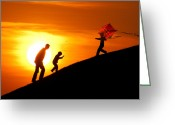 Childs Greeting Cards - Kite Greeting Card by Okan YILMAZ