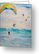 Kites Greeting Cards - Kite Surfer Greeting Card by Jamie Frier