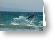 Playa Greeting Cards - Kite surfer jumping over a wave Greeting Card by Sami Sarkis