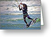Jumping Greeting Cards - Kite Surfing Greeting Card by Gwyn Newcombe