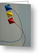 Kites Greeting Cards - Kites in Summer Breeze Greeting Card by Deborah Bloom