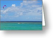 Kites Greeting Cards - Kitesurfing in Kauai II Greeting Card by Lynn Bauer
