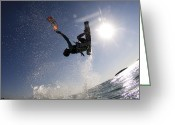 Jumping Greeting Cards - Kitesurfing in the Mediterranean Sea  Greeting Card by Hagai Nativ