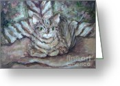 Camouflaged Painting Greeting Cards - Kitty Camo Greeting Card by Deborah Smith