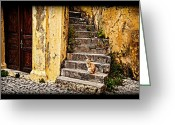 Rhodes Greece Greeting Cards - Kitty on steps 2 Greeting Card by Thomas Kessler