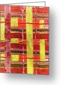 Desert Tapestries - Textiles Greeting Cards - Kiva Greeting Card by Glenda Banta