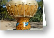 Music Pyrography Greeting Cards - Kiva Steps Medicine Drum Greeting Card by C Whitehawk