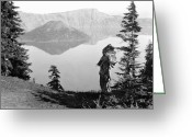 Headdress Greeting Cards - KLAMATH CHIEF, c1923 Greeting Card by Granger