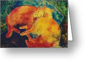 Paul Klee Greeting Cards - Klees Sleeping Cats Greeting Card by Eve Riser Roberts