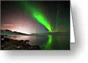 Aurora Borealis Greeting Cards - Kleifarvatn Lake Greeting Card by Gudjon Otto Bjarnason