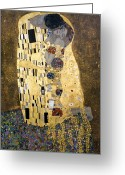 Yellow Photo Greeting Cards - Klimt: The Kiss, 1907-08 Greeting Card by Granger