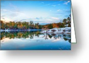 Klondike Greeting Cards - Klondike Park Autumn Lake Greeting Card by Bill Tiepelman