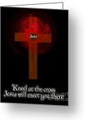 2hivelys Art Greeting Cards - Kneel At The Cross Greeting Card by Methune Hively