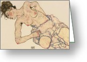 Nudes Greeting Cards - Kneider weiblicher halbakt Greeting Card by Egon Schiele