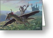 M P Davey Greeting Cards - Knight Riding On Flying Dragon Greeting Card by Martin Davey