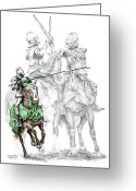 Pencil Drawing Greeting Cards - Knight Time - Renaissance Medieval Print color tinted Greeting Card by Kelli Swan