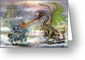 Fairytale Greeting Cards - Knights n Dragons Greeting Card by Kevin Middleton