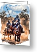 Jousting Greeting Cards - Knights of Yore Greeting Card by Tom Schmidt