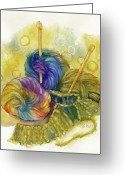 Yarn Greeting Cards - Knitting Greeting Card by Peggy Wilson