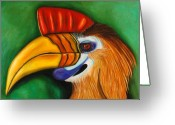 Hornbill Greeting Cards - Knobbed Hornbill Greeting Card by Leah Saulnier The Painting Maniac